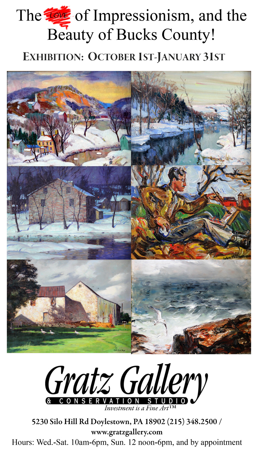 Gratz gallery and conservation studio doylestown pa for Craft shows in bucks county pa